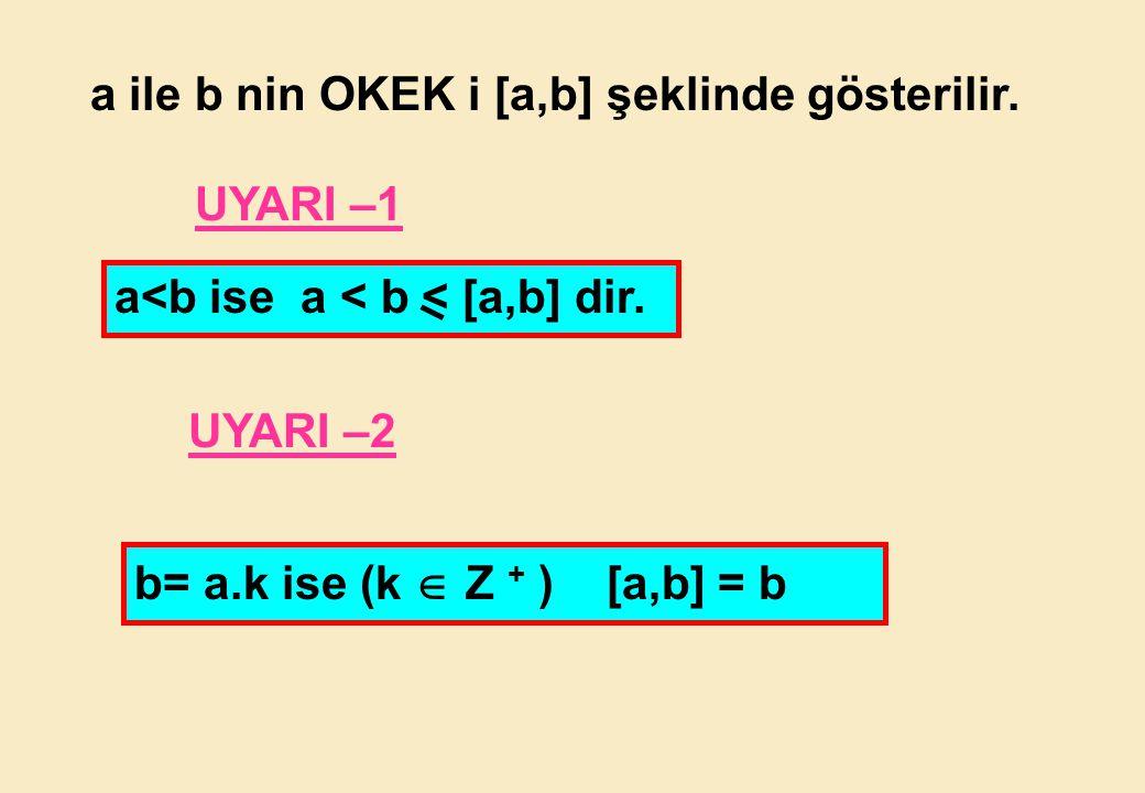 a ile b nin OKEK i [a,b] şeklinde gösterilir.